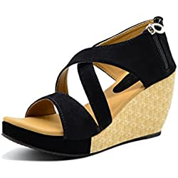 "Myra Women's ""3"" inch Textured Black Heel Wedges Sandal-7 (MS797C2S7)"