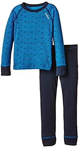 Odlo Kinder Funktionsunterwäsche Jungen Set Warm Kids Shirt Long Sleeve Pants Long, Directoire Blue - Navy New, 104,