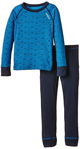 Odlo Kinder Funktionsunterwäsche Jungen Set Warm Kids Shirt Long Sleeve Pants Long, Directoire Blue – Navy New, 80, 150409 | 07613273799033