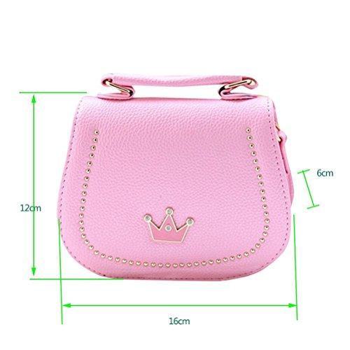 Honeymall Damen Kleines Mädchen Tasche Kinder Umhängetasche Handtasche Taschen KindertascheMode Frauen Schultertasche PU Leder Mit Kaiserkrone Verstellbarer Schultergurt(Pink) Pink