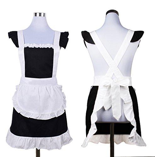 Cute Sweet Retro Rüschen Schürzen für Mädchen Damen-Küche Kochen Reinigung Dienstmädchen Kostüm mit Tasche (schwarz und (Kostüme Cute Maid)
