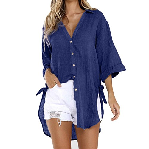BHYDRY Womens Loose Button Long Shirt Kleid Baumwolle Damen Casual Tops T-Shirt Bluse(3XL,Marine)