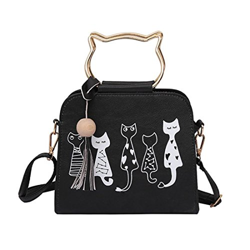 Handtasche Damen Btruely Mädchen Schulter Messenger Taschen Vintage Niedlich Katze Muster Tasche Damen Leder Quasten Umhängetasche (Schwarz) (Überprüfen Tote Schulter Sie)