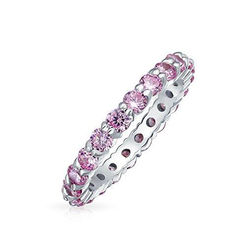 Bling Jewelry Dünne ebnen runden Stein Zirkonia Blush Pink 925 Sterling Silber Topas Farbe CZ Stapelbar Ring