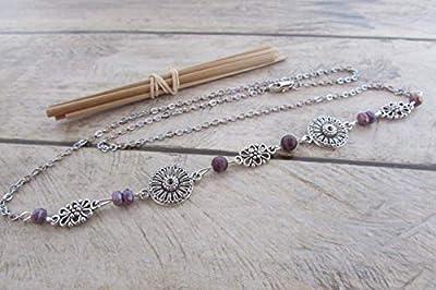 Headband, serre-tête, bijoux de cheveux, chaine et fermoir en métal couleur argenté, perle pourpre, cadeaux pour elle, anniversaire, Noël, maman, mariage