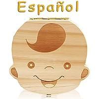 LAMEIDA Caja de Almacenamiento de Dientes de Leche Souvenir para Bebé Caja de Dientes de Madera Diente Organizador de la Caja para Niños Bebé de Infancia(Lengua española)