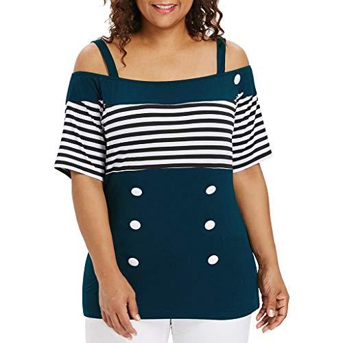SUCES Bluse Damen, Lässig Langarm Pullover Frauen Mode Groß Größe T-Shirt V-Ausschnitt Schulterfrei Oberteile Charmant Tunika(Blau,XXL)