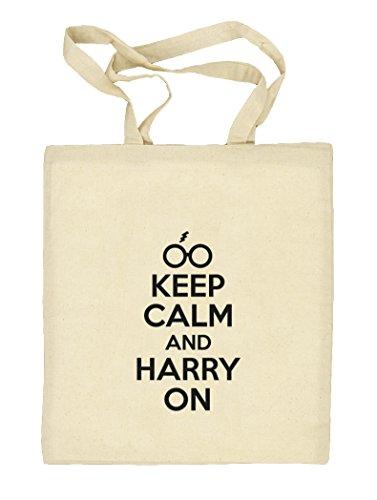 Shirtstreet24, Keep Calm And Harry On, Natur Stoffbeutel Jute Tasche (ONE SIZE) Natur