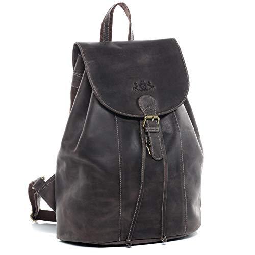 SID & VAIN Rucksack Leder SAM groß Backpack Tagesrucksack Stadtrucksack Unisex Lederrucksack mit gepolstertem Gerätefach bis 15,4' braun