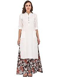 Muta Fashions Women's Cotton Dress Material Without Bottom (Kurti204_08_White_Free Size)