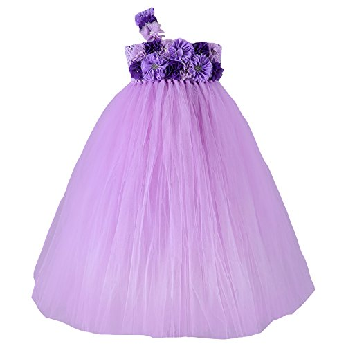 """Free Fisher Mädchen Prinzessin Brautkleid Abendkleid Tüllkleid mit """"Blumen und Schmuck, Weiß,..."""