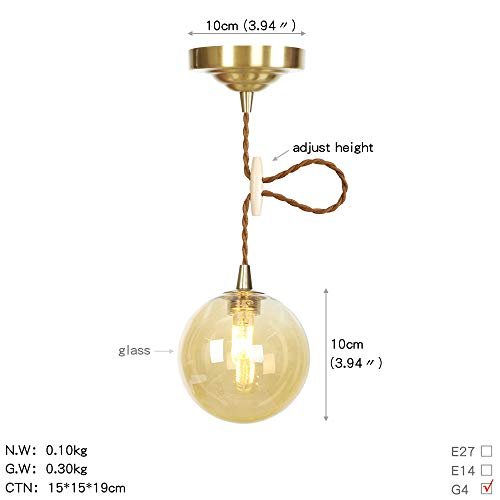 WSWJQY Einfache Leuchter Persönlichkeit Nordicl Pendelleuchten ndustrie Wind kreative Glas Lampe Leuchtmittel mit Anhänger Schatten rund reinen Kupfer Kronleuchter -