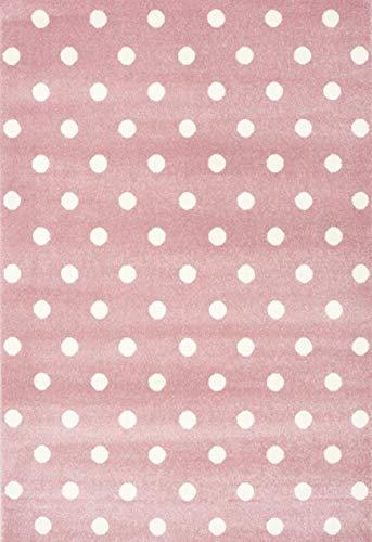 Livone Kinderzimmer Baby Kinderteppich Punkte Kreise in rosa Weiss Größe 100 x 150 cm