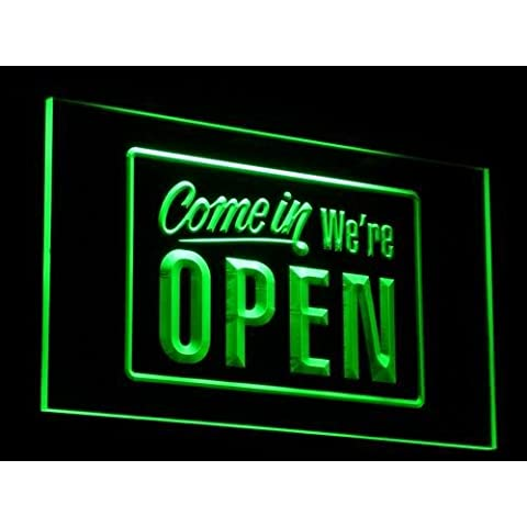 Insegna al neon i001-g We're OPEN Shop Cafe Bar Display Neon Light Sign - Neon Open Bar