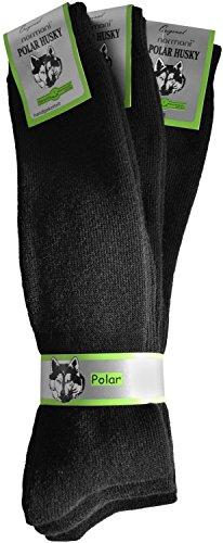 3 Paar Nie wieder kalte Füße! POLAR HUSKY® Wintersocken - super-dick und sehr warm Farbe Kniestrümpfe Schwarz Größe 43/46