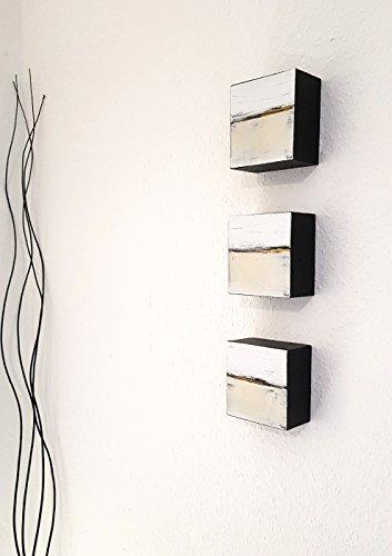 3x 10x10cm Malerei Acrylmalerei abstrakt auf Holz moderne Kunst, modernes Design, Malerei, moderne...
