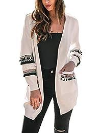 Cardigan Mi Long Femme Veste Patchwork Oversize Gilet Tricot Laine Blazer  Bolero Manche Longue Boheme Chic Manteau Automne Hiver… 76b19cd63899