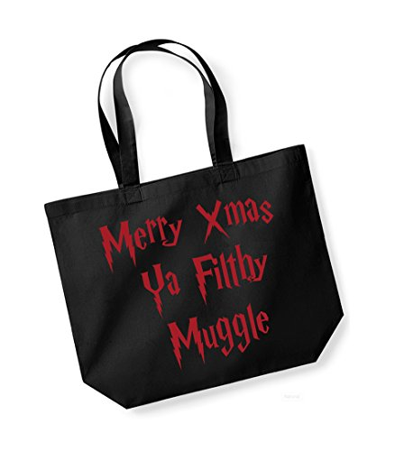 Merry Xmas Ya Filthy Muggle - Large Canvas Fun Slogan Tote Bag Black/Red