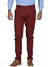 Kushsection Men's Regular Fit Casual Trouser Maroon Trousers For Men