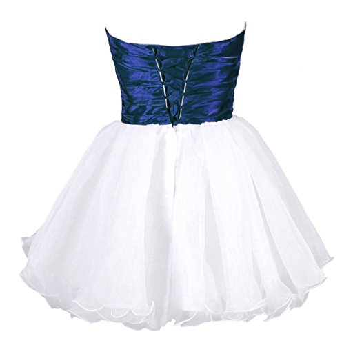 Vantexi Damen Trägerlosen Kurz Ballkleid Abendkleid Weiß Blau