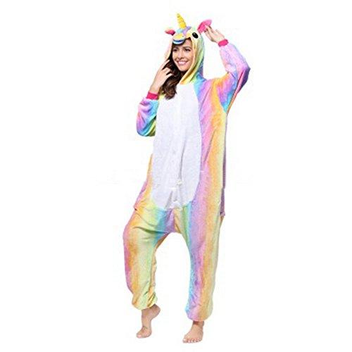 en Tier Schlafanzug Cartoon Pferd Cosplay Flanell Pyjamas Fasching Halloween Kostüm Jumpsuit Overall (Mädchen Kostüme Partner)