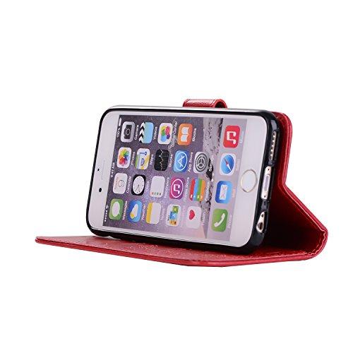 Apple iPhone 7 4.7 hülle,Voguecase 2 in 1 Combo Kunstleder Tasche PU + TPU Schutzhülle Tasche Brieftasche Hülle Handy Schutzhülle Case Cover Abnehmbare Handy Shell Geldbörse (Mädchen und Katze -blau)  Mädchen und Katzen - Rot