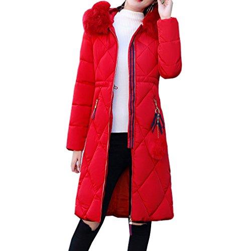 WTUS Femme Manteau Chaud Parka Hiver Avec Capuche Militaire Style Garder Au Chaud Hiver Nouveau Rouge
