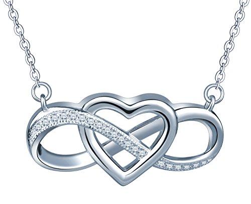 Herz Unendlichkeit Symbol Damen Halskette 925 Sterling Silber Zirkonia Anhänger Verstellbare Kette, Silber (Hochzeit Zeichen)