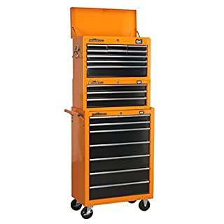 DJM Direct Pro Heavy Duty Tool Box Storage Stack System - 9D Top Chest + 7D Rollcab + 3D Middle Add-On