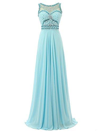 Dresstells Damen Perlen Rückenausschnitt Lange Chiffon Ballkleid Abendkleider Festkleider Rosa