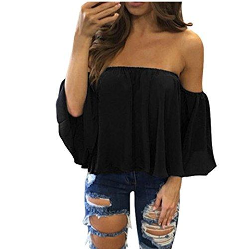 Bekleidung Longra Damen lange Ärmel Pullover T Shirt weg vom Schulter lässige Bluse Tops (s, black) (Hose Reverse Falte)
