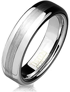 Paula & Fritz® Ring Tisten Titan Wolfram silber 6mm breit Ring mit Zentrum erhoben aus gebürstetem Metall verfügbare...
