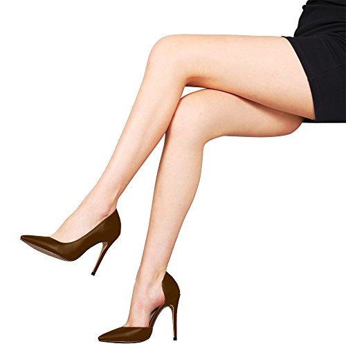 Guoar High Heels Damenchuhe Übergröße Pumps Spitze Zehen D'Orsay Rutsch Hohl Stiletto Party Hochzeit Ballsaal Business Braun Pu
