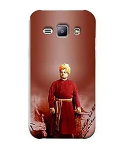 PrintVisa Designer Back Case Cover for Samsung Galaxy J1 (6) 2016 :: Samsung Galaxy J1 2016 Duos :: Samsung Galaxy J1 2016 J120F :: Samsung Galaxy Express 3 J120A :: Samsung Galaxy J1 2016 J120H J120M J120M J120T (Swami Vivekanada Design In Red)