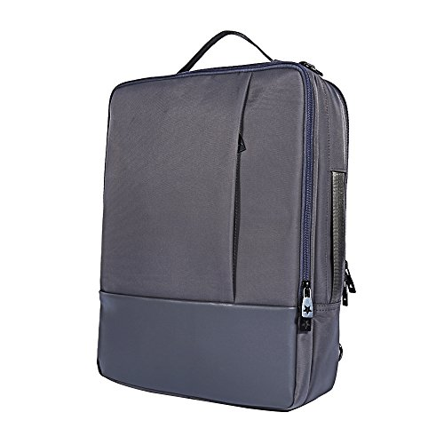 Skitic Multi-funzionale Impermeabile 16.5 Pollici Laptop Backpack Zaino,Convertibile Messenger Singola Tracolla Borsa Bag, Attività Commerciale Travel Borsetta Handbag per Macbook / Notebook / Tablet PC / Ultrabook / Chromebook - Grigio