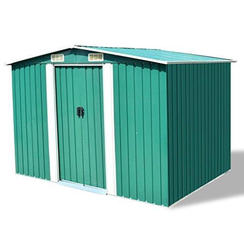 vidaXL Caseta de Almacenaje de Jardín Metal Verde 257x205x178cm Cobertizo