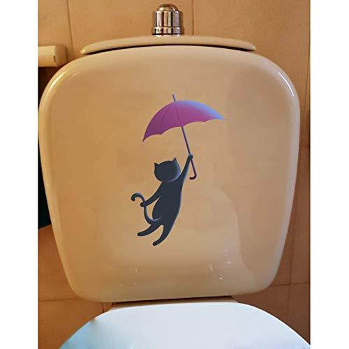 HYLCH Wandaufkleber 14,4 * 23 cm Silhouette Der Traum Cartoon Katze Wc Aufkleber Wandaufkleber Schlafzimmer Dekoration