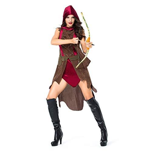 (YaXuan Frauen Halloween Kostüme, alte Archer Cosplay Krieger Show mit Köcher Adult Halloween Karneval Festival/Urlaub (Farbe : Picture Color, Größe : XL))