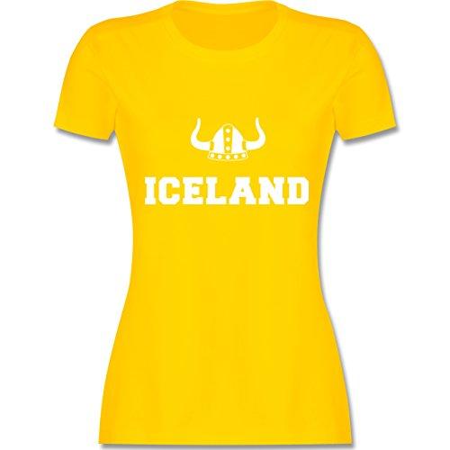 Shirtracer Länder - Iceland + Wikingerhelm - Damen T-Shirt Rundhals Gelb