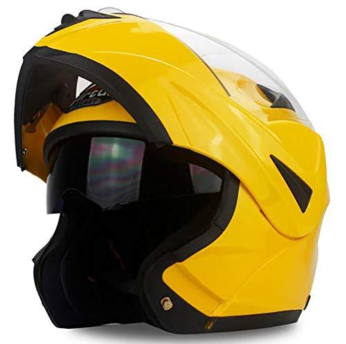 LTK. one Casco Moto Casco da Motociclista Casco da Uomo e da Donna Casco Integrale da Casco Four Seasons Electric Car Anti-Nebbia,Yellow,M