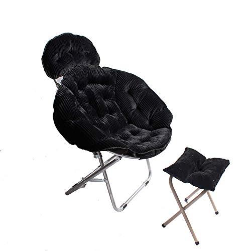 RUIX Home Klappstuhl Büro Sessel Mit Fußstütze, Geeignet Für Schlafzimmer, Wohnzimmer,Black