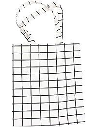 Nuni Plaid Pattern Cotton Canvas Tote Bag (White/ Zip Closure)