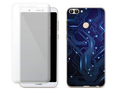 etuo Huawei P Smart - Hülle Full Body Slim Fantastic - Integrierte Schaltkreise - Handyhülle Schutzhülle Etui Case Cover Tasche für Handy