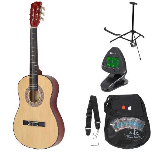 ts-ideen Kindergitarre 3/4 Akustik Klassik Gitarre für ca 8-12 Jahre mit Tasche + Zubehör