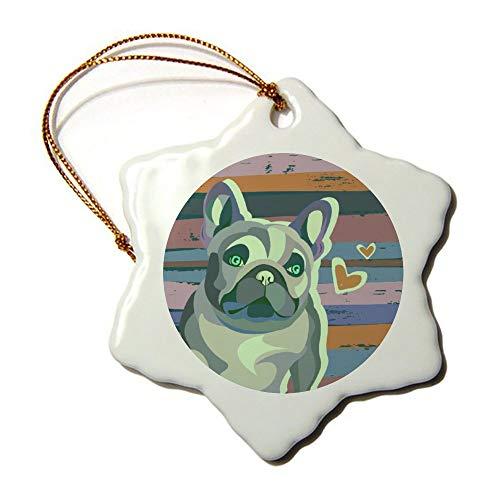 wendana Valentinstag Mops Hund auf rustikalem Gemälde Hintergrund Ornamente Neuheit Keramik Weihnachten Ornamente für Weihnachtsbaum Dekoration Andenken Ornamente -