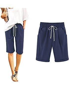 Minetom Donna Estate Casual Taglie Forti 7/8 Lunghezza Elasticizzati Pantaloni Eleganti Coulisse Elastico Cotone...