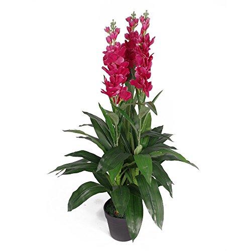 Leaf Kunstpflanze Cymbidium Orchidee, 100 cm, schwarzer Kunststofftopf, dunkelrosa Blumen