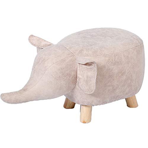BYPING-Taburete puff Dormitorio Personalidad Elefantes Piel Imitación Algodón Transpirable, 3 Colores (Color...