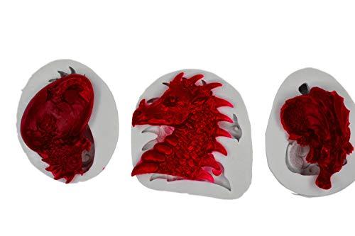 3-teiliges Set Dinosaurier-Eier Oster-Fondant Silikonform Drache, Süßigkeiten-Form für Kaugummipaste, Cupcake-Topper, Dekoration, Polymer-Ton, Süßigkeiten, Gummi, Wachsmalstifte (Oster Mikrowellen)