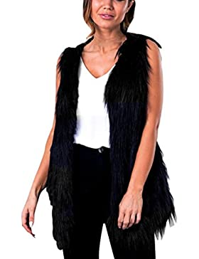 SHOBDW Mujeres Chaleco sin mangas abrigo de pelo largo Chaleco chaqueta Negro